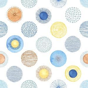 Seamless Summer Pattern with Hand-Drawn and Watercolor Circles Texture, Abstraction Colorful Illust by Nikiparonak