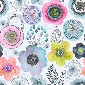 Seamless Watercolor Abstraction Floral Pattern in Vintage Style. by Nikiparonak