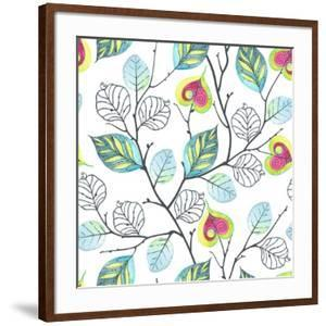 Watercolor Seamless Pattern with Branches and Leaves, Abstract Illustration in Vintage Style. by Nikiparonak