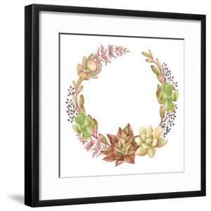 Wreath of Succulents and Kalanchoe, Vector Watercolor Illustration. by Nikiparonak