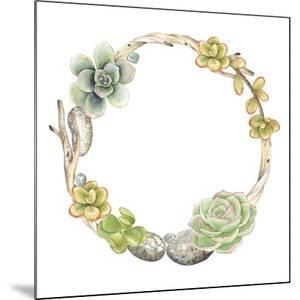 Wreath of Succulents, Twigs and Stones, Vector Watercolor Illustration in Vintage Style. by Nikiparonak