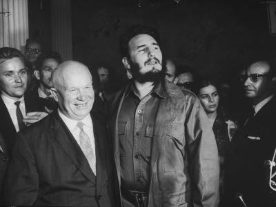 Nikita Khrushchev and Fidel Castro Attending United Nations Sessions--Photographic Print