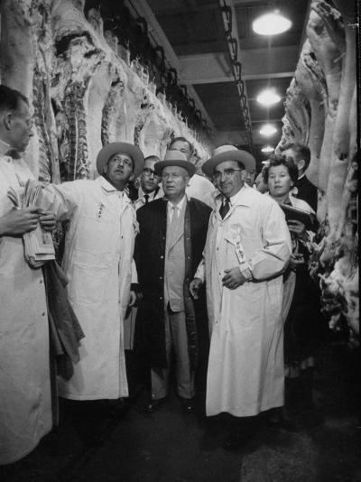 Nikita S. Khrushchev on Tour of Meat Packing Plant-Carl Mydans-Photographic Print