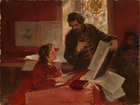 Nikita Zotov Teaches Young Peter I, 1902-Klavdi Vasilyevich Lebedev-Giclee Print
