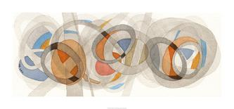 Sepia & Orange Circles-Nikki Galapon-Art Print