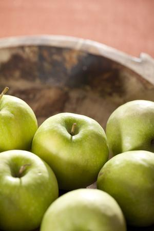 Apples, Wooden Bowl, Granny Smith