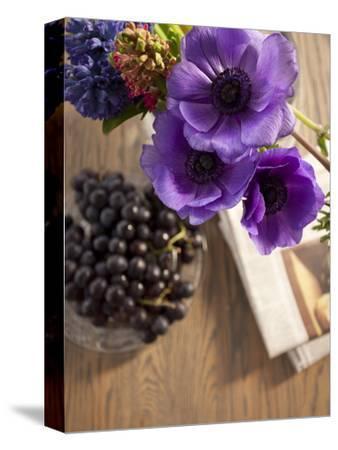 Flower, Anemone, Blossom, Grapes, Newspaper