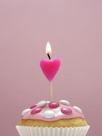 Muffin, Icing, Pink, Chocolate Beans, Candle, Heart Form, Burn, Detail