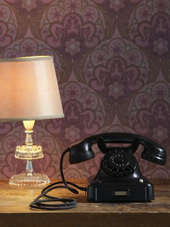 Phone, Old, Black, Standard Lamp, Nostalgia, Communication, Dial, Slice, Select, There Call Up