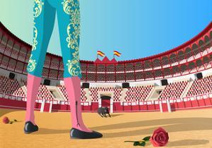 Bullfighter versus Angry Bull in Arena by Nikola Knezevic