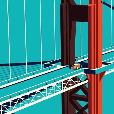 Car on the Golden State Bridge