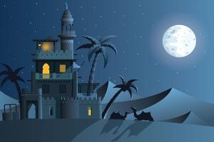 Desert Oasis in the Night by Nikola Knezevic