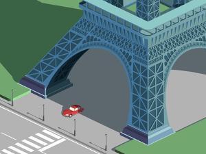 Eiffel Tower and Red Car Isometric by Nikola Knezevic