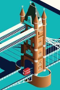 London Tower Bridge and Double Decker Bus Isometric by Nikola Knezevic