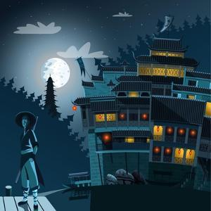 Martial Arts Fighter and Ancient Chinese Village in Background at Night by Nikola Knezevic