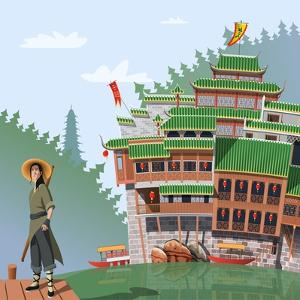 Martial Arts Fighter and Ancient Chinese Village in Background by Nikola Knezevic