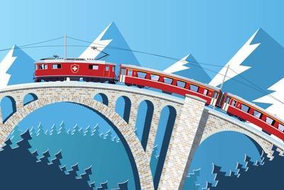 Mountain Train on the Bridge through the Alps