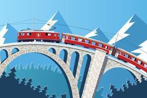 Mountain Train on the Bridge through the Alps by Nikola Knezevic
