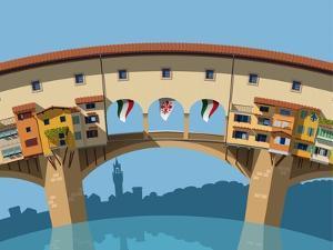 Old Bridge in Florence Flat Illustration by Nikola Knezevic