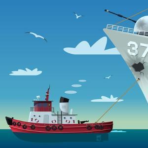 Tugboat Pulling Damaged Navy Ship by Nikola Knezevic