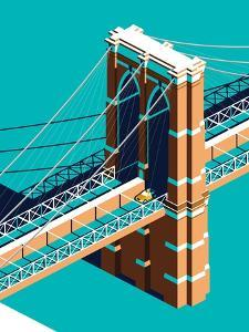 Yellow Cab on Brooklyn Bridge Isometric by Nikola Knezevic