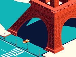 Yellow Car under the Eiffel Tower by Nikola Knezevic