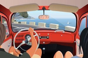 Young Couple Tavelling on Coast Road in Retro Car by Nikola Knezevic