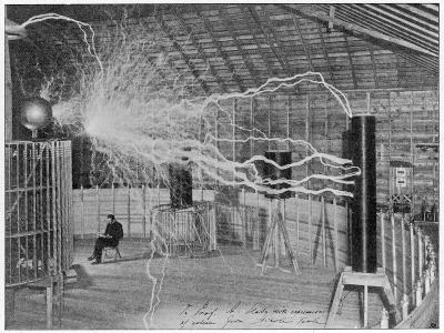 Nikola Tesla Produces Artificial 'Lighting'--Photographic Print