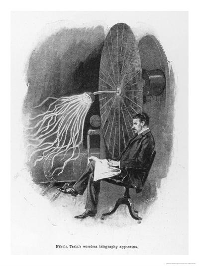 Nikola Tesla Serbian Inventor Seated Beside His Wireless Telegraphy Apparatus-Warwick Goble-Giclee Print