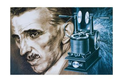 Nikola Tesla with an Early Tesla Coil--Giclee Print