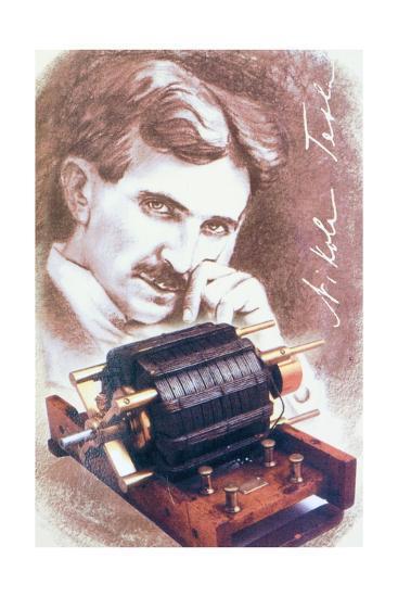 Nikola Tesla with Machine--Giclee Print