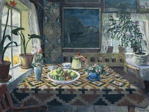 An Interior with a Still Life, the Parlour at Sandalstrand by Nikolai Astrup