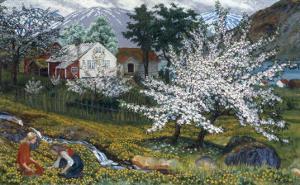 Apple Trees in Bloom by Nikolai Astrup