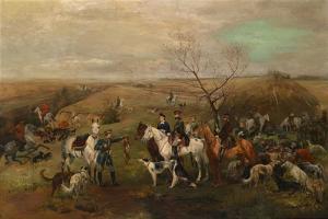 Hunting Party with the Emperor Alexander III and Empress Maria Feodorovna, 1880s by Nikolai Semyonovich Samokish