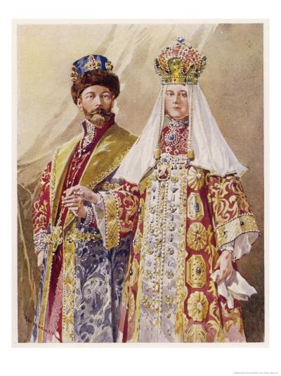 Nikolay Aleksandrovich Czar Nicolas II with Alexandra in Ancient Muscovite Dress-Frederic De Haenen-Giclee Print