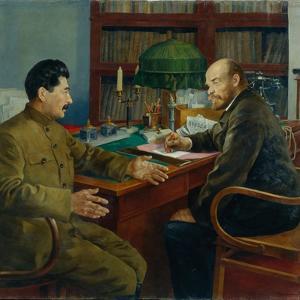 Lenin and Stalin, 1938 by Nikolay Ivanovich Shestopalov