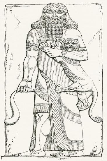 Nimrod, King of Shinar, from the Palace of Khorsabad, from the Imperial Bible Dictionary--Giclee Print