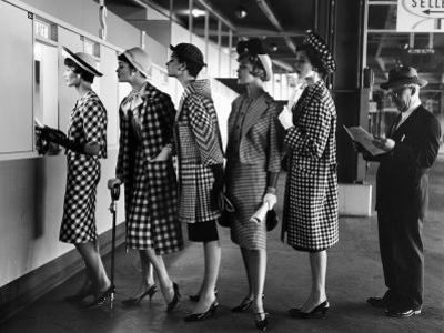 5 Models Wearing Fashionable Dress Suits at a Race Track Betting Window, at Roosevelt Raceway