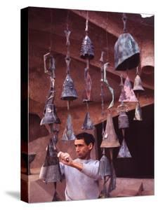 Bell Maker Paolo Soleri in His Workshop at Scottsdale, Az by Nina Leen