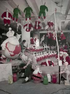 Bliss Display Corporation Employees Create Holiday Decorations in a Warehouse, New York, NY, 1958 by Nina Leen