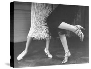 Charleston Dancers in Fringed Skirts Wearing Rhinestone Trimmed Pumps and Strapped Sandals by Nina Leen