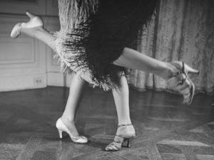 Charleston Dancers in Fringed Skirts Wearing Rhinestone-Trimmed Pumps and Strapped Sandals by Nina Leen
