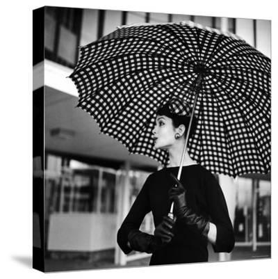 Checked Parasol, New Trend in Women's Accessories, Used at Roosevelt Raceway