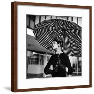 Checked Parasol, New Trend in Women's Accessories, Used at Roosevelt Raceway by Nina Leen