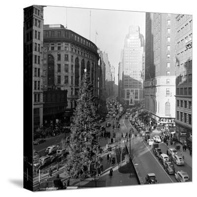Christmas Tree on 52nd Street Next to Gimbels Department Store, New York, NY, 1940S