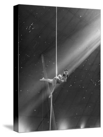 Circus Aerialist Bella Attardi, Hanging on Rope Practicing Aerial Ballet For Ringling Bros. Circus