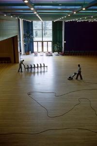 Custodians Move Furniture and Polish Wood Floors of College Activity Hall. Usa 1954 by Nina Leen