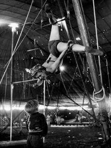 David Alzano Interrupts His Mother Elsie to Complain of Playmate Squabbles at Ringling Bros. Circus by Nina Leen