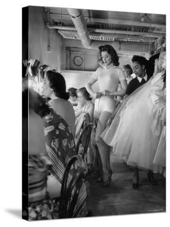 Debutante Actress Tina L. Meyer Changing Clothes Backstage in Dressing Room
