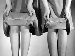 Dress Hemlines Displayed to Show Shorter Hem an Effort to Conserve Fabric During WWII by Nina Leen